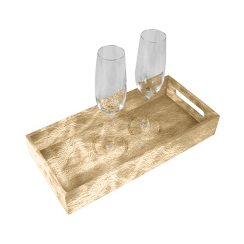 Presentation Tray 13.8 x 6.3 inches - Golden - Metallic Leather