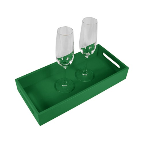 Presentation Tray 13.8 x 6.3 inches - Light Green - Smooth Leather