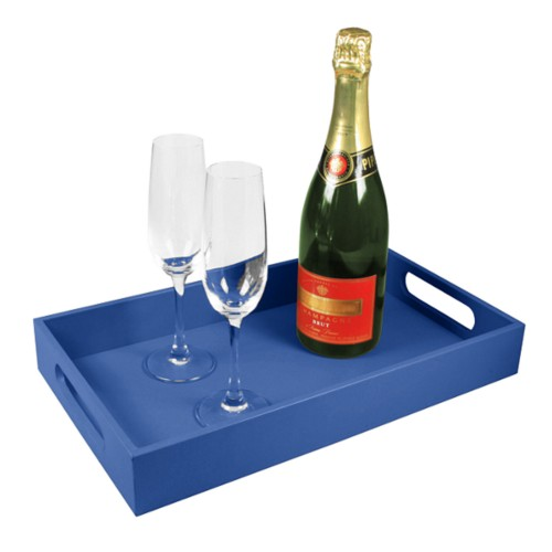 Service tray 15.7 x 9.4 inches - Royal Blue - Smooth Leather