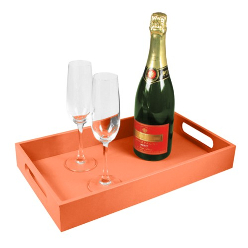 Service tray 15.7 x 9.4 inches - Orange - Smooth Leather