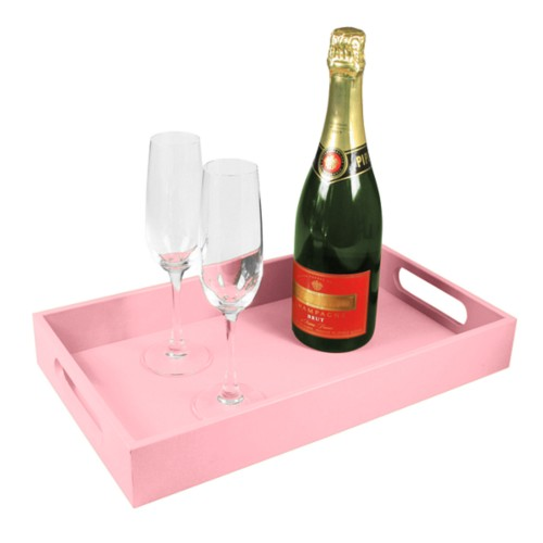 Serving Tray (40 x 24 cm) - Pink - Smooth Leather