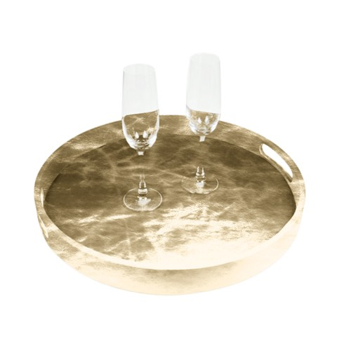 Round Service Tray - Golden - Metallic Leather