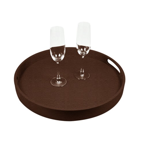 Round Service Tray - Brown - Granulated Leather