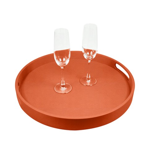 Round Service Tray - Orange - Granulated Leather