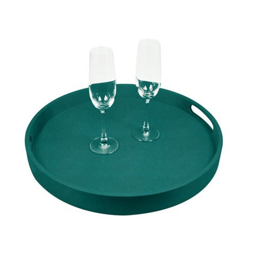 Round Service Tray - Sea Green - Granulated Leather
