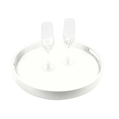 Round Service Tray - White - Smooth Leather