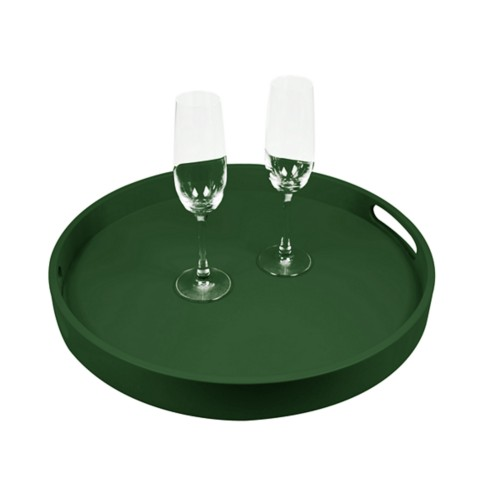 Round Service Tray - Dark Green - Smooth Leather