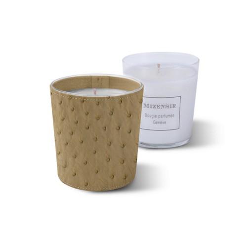 Mizensir Kerze von Lucrin - Beige - Echtes Straußenleder