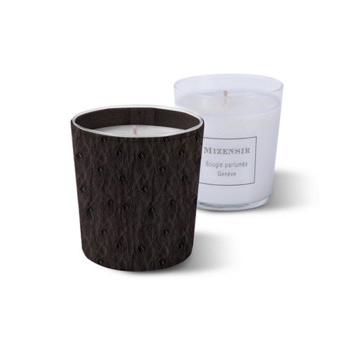 Mizensir Candle by Lucrin - Dark Brown - Real Ostrich Leather