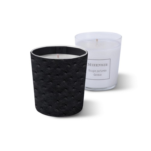 Mizensir Candle by Lucrin - Black - Real Ostrich Leather