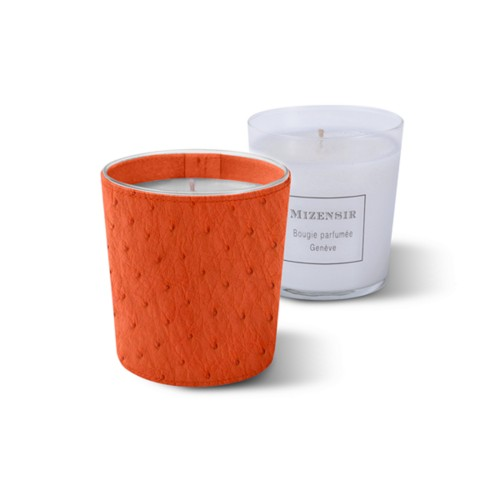 Mizensir Candle by Lucrin - Orange - Real Ostrich Leather