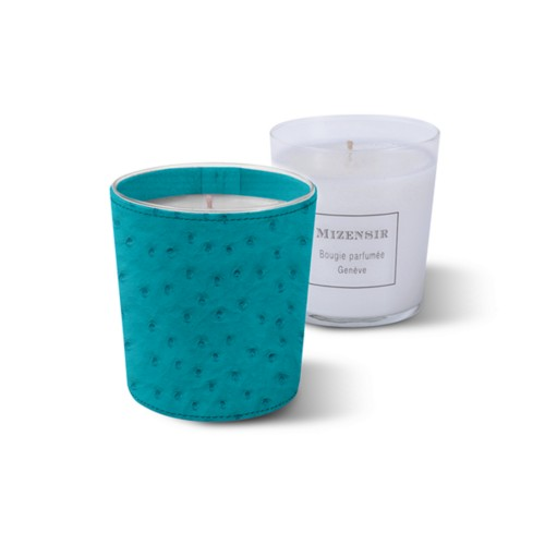 Mizensir Candle by Lucrin - Turquoise - Real Ostrich Leather