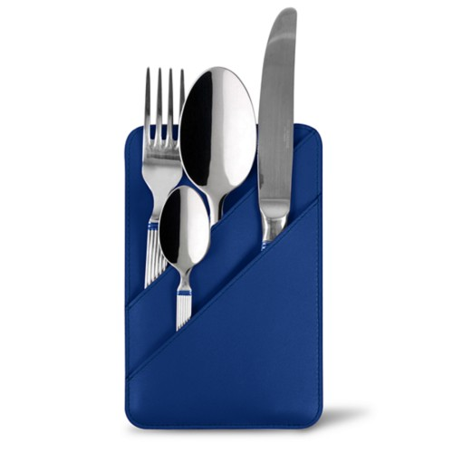 Cutlery Pouch - Royal Blue - Smooth Leather