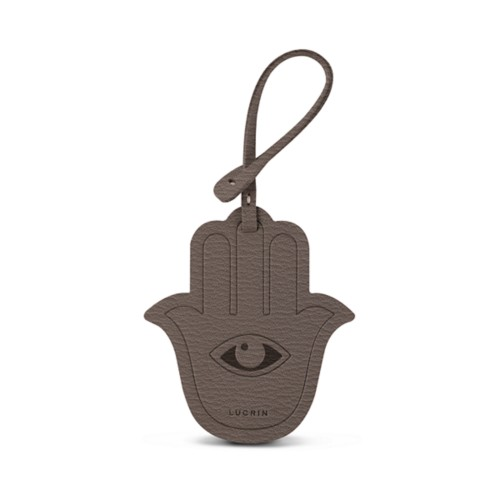 The Hamsa Lucky Charm - Dark Taupe - Goat Leather