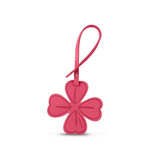 Four-leaf Clover Lucky Charm - Pink candy - Goat Leather