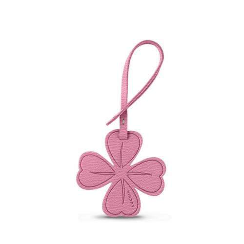 Vierblättriges-Kleeblatt-Glücksanhänger - Rosa - Ziegenleder