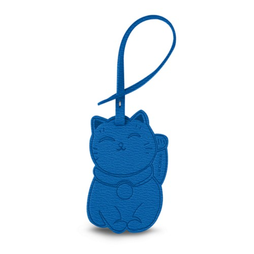 Maneki-neko Lucky Charm - Royal Blue - Goat Leather