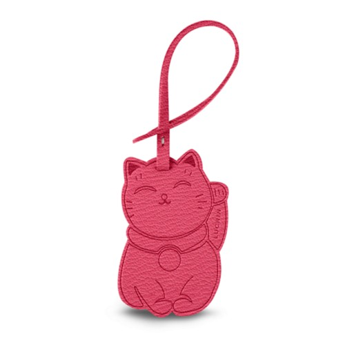 Maneki-neko Lucky Charm - Pink candy - Goat Leather