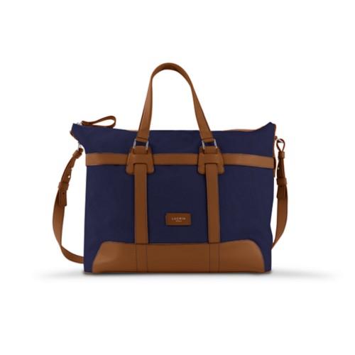 Sac voyage 48h - Bleu Marine-Cognac - Toile Coton