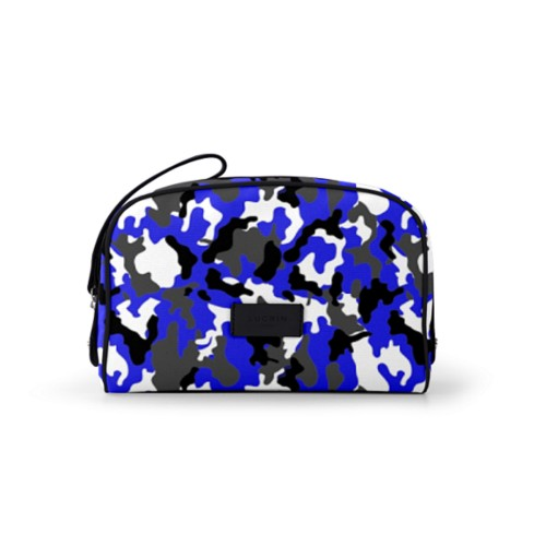 Cosmetic bag (10 x 7.3 x 3.5 inches) - Royal Blue-Black - Camouflage