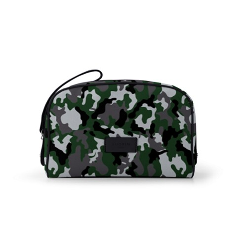 Cosmetic bag (10 x 7.3 x 3.5 inches) - Light Green-Black - Camouflage