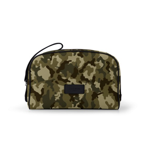 Cosmetic bag (10 x 7.3 x 3.5 inches) - Dark Green-Black - Camouflage