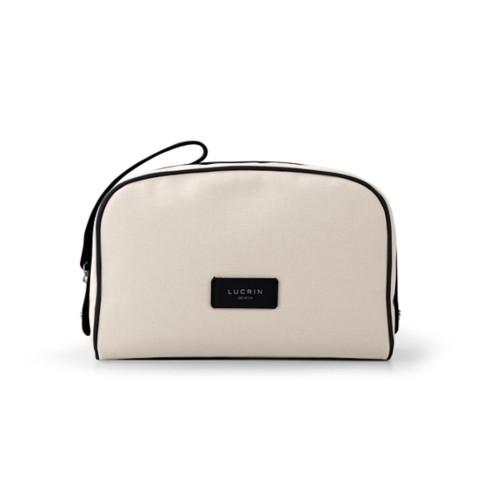 Cosmetic bag - Beige-Black - Canvas