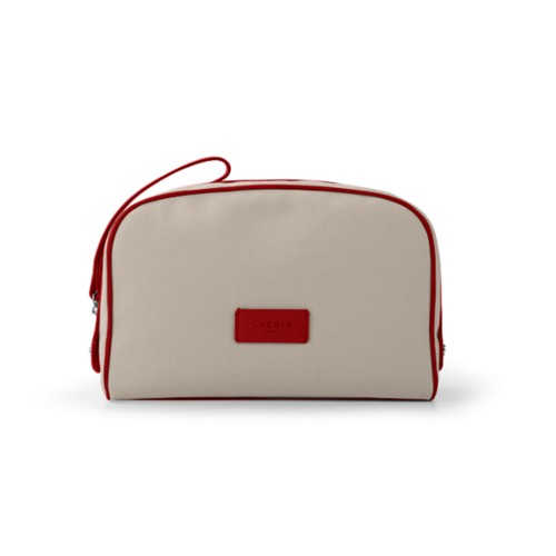 Cosmetic bag - Beige-Red - Canvas