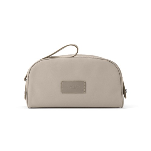 Toiletry Makeup Bag (8.9 x 5.5 x 4.5 inches) - Beige-Light Taupe - Canvas