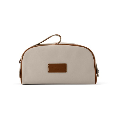 Toiletry Makeup Bag (8.9 x 5.5 x 4.5 inches) - Beige-Tan - Canvas
