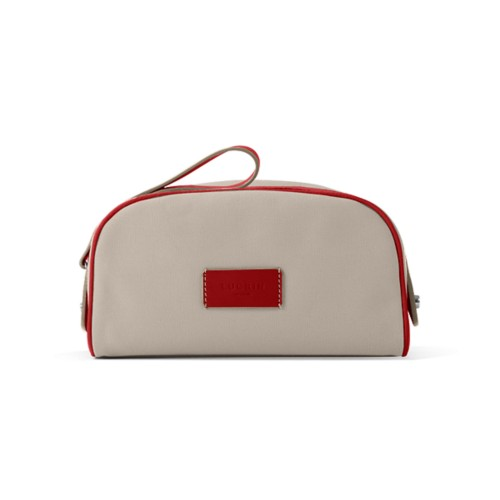 Toiletry Makeup Bag (8.9 x 5.5 x 4.5 inches) - Beige-Red - Canvas