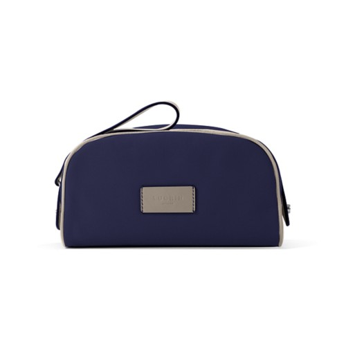 Toiletry Makeup Bag (8.9 x 5.5 x 4.5 inches) - Navy Blue-Light Taupe - Canvas