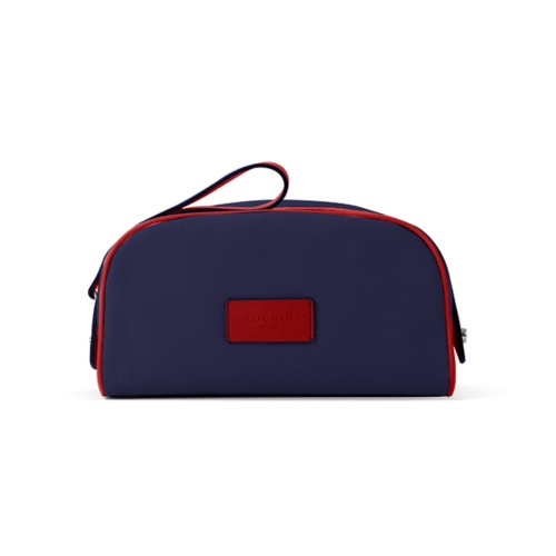 Toiletry Makeup Bag (8.9 x 5.5 x 4.5 inches) - Navy Blue-Red - Canvas