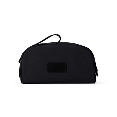Toiletry Makeup Bag (8.9 x 5.5 x 4.5 inches) - Black-Black - Canvas