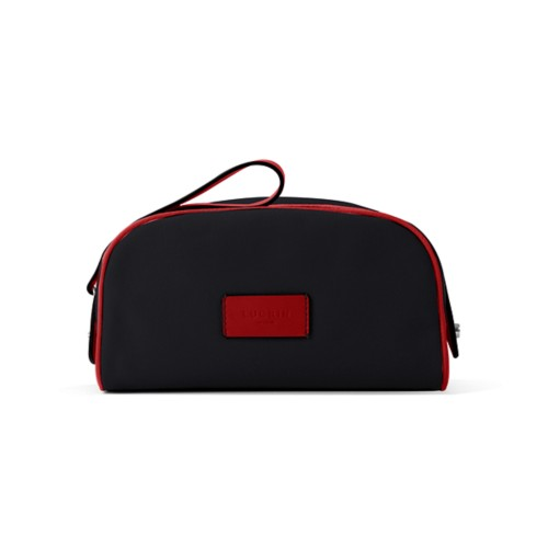 Toiletry Makeup Bag (8.9 x 5.5 x 4.5 inches) - Black-Red - Canvas