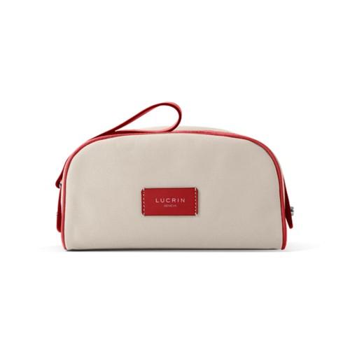 Half-moon dopp kit - Beige-Red - Canvas
