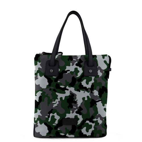 Tote canvas bag - Light Green-Black - Camouflage
