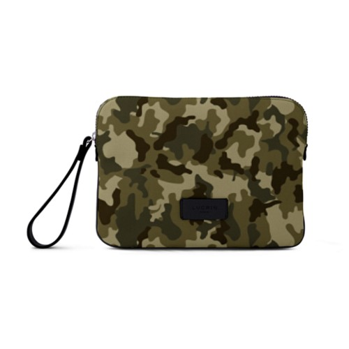 Canvas Clutch Bag - Dark Green-Black - Camouflage