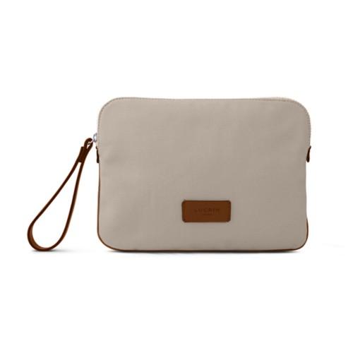 Canvas Clutch Bag - Beige-Tan - Canvas