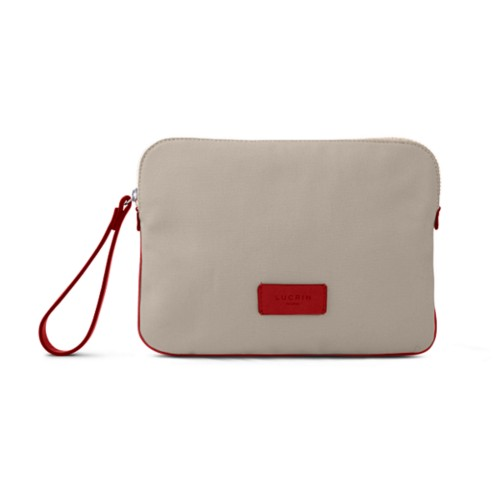 Canvas Clutch Bag - Beige-Red - Canvas