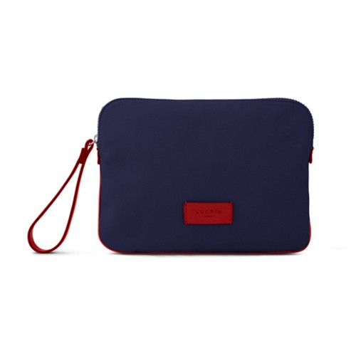 Canvas Clutch Bag - Navy Blue-Red - Canvas