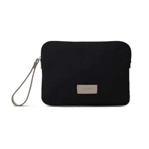 Canvas Clutch Bag - Black-Light Taupe - Canvas