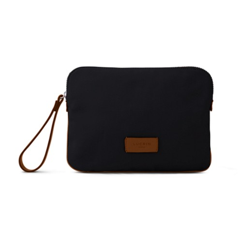 Canvas Clutch Bag - Black-Tan - Canvas