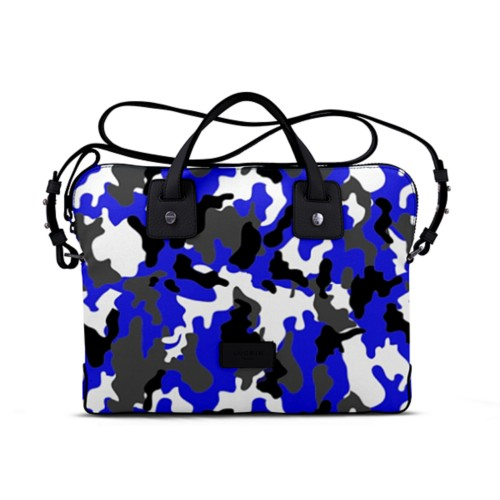 Canvas Satchel Briefcase (13 inches) - Royal Blue-Black - Camouflage