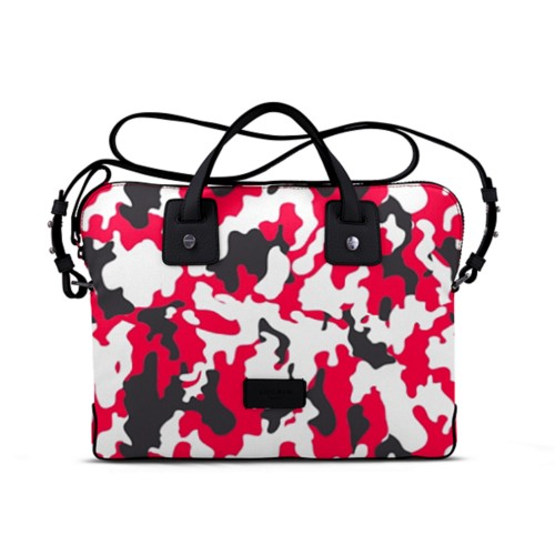 Canvas Satchel Briefcase (13 inches) - Red-Black - Camouflage