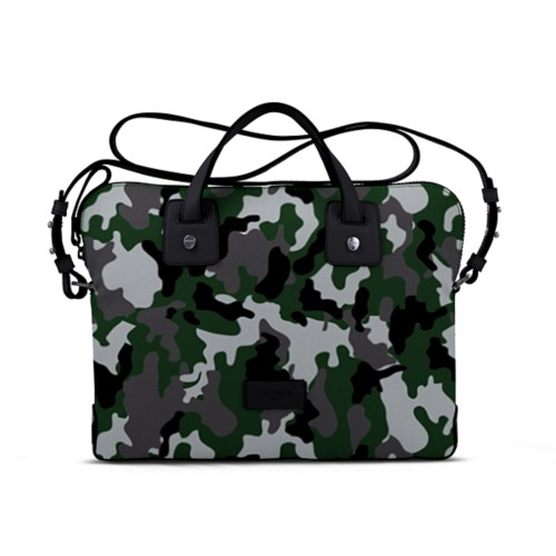 Canvas Satchel Briefcase (13 inches) - Light Green-Black - Camouflage