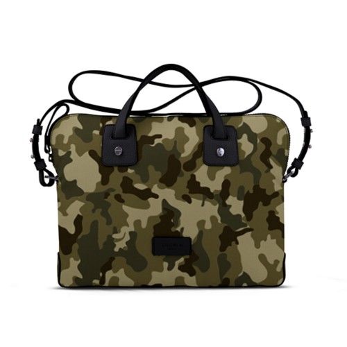 Canvas Satchel Briefcase (13 inches) - Dark Green-Black - Camouflage