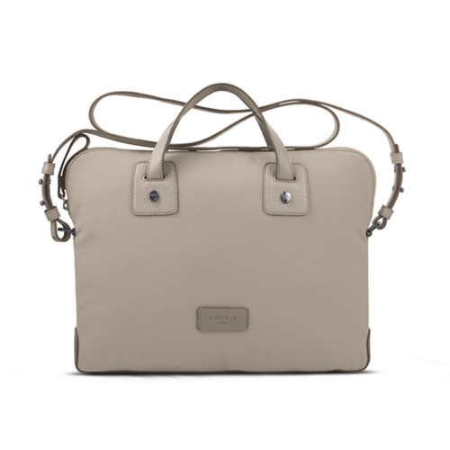 Canvas Satchel Briefcase (13 inches) - Beige-Light Taupe - Canvas