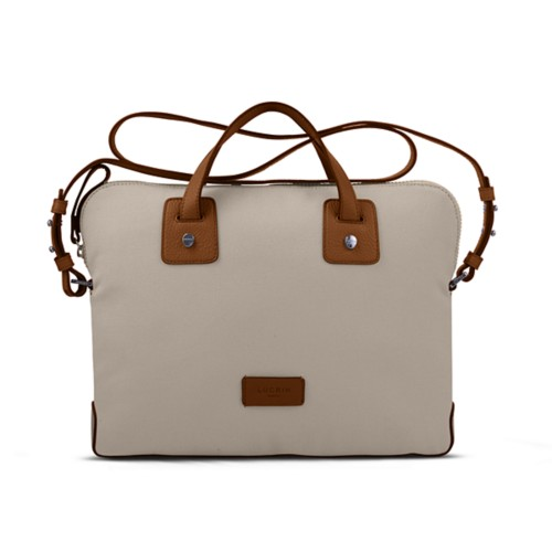 Canvas Satchel Briefcase (13 inches) - Beige-Tan - Canvas