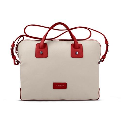 Canvas Satchel Briefcase (13 inches) - Beige-Red - Canvas